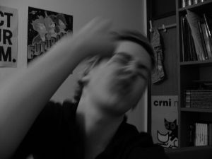 Teen punching himself